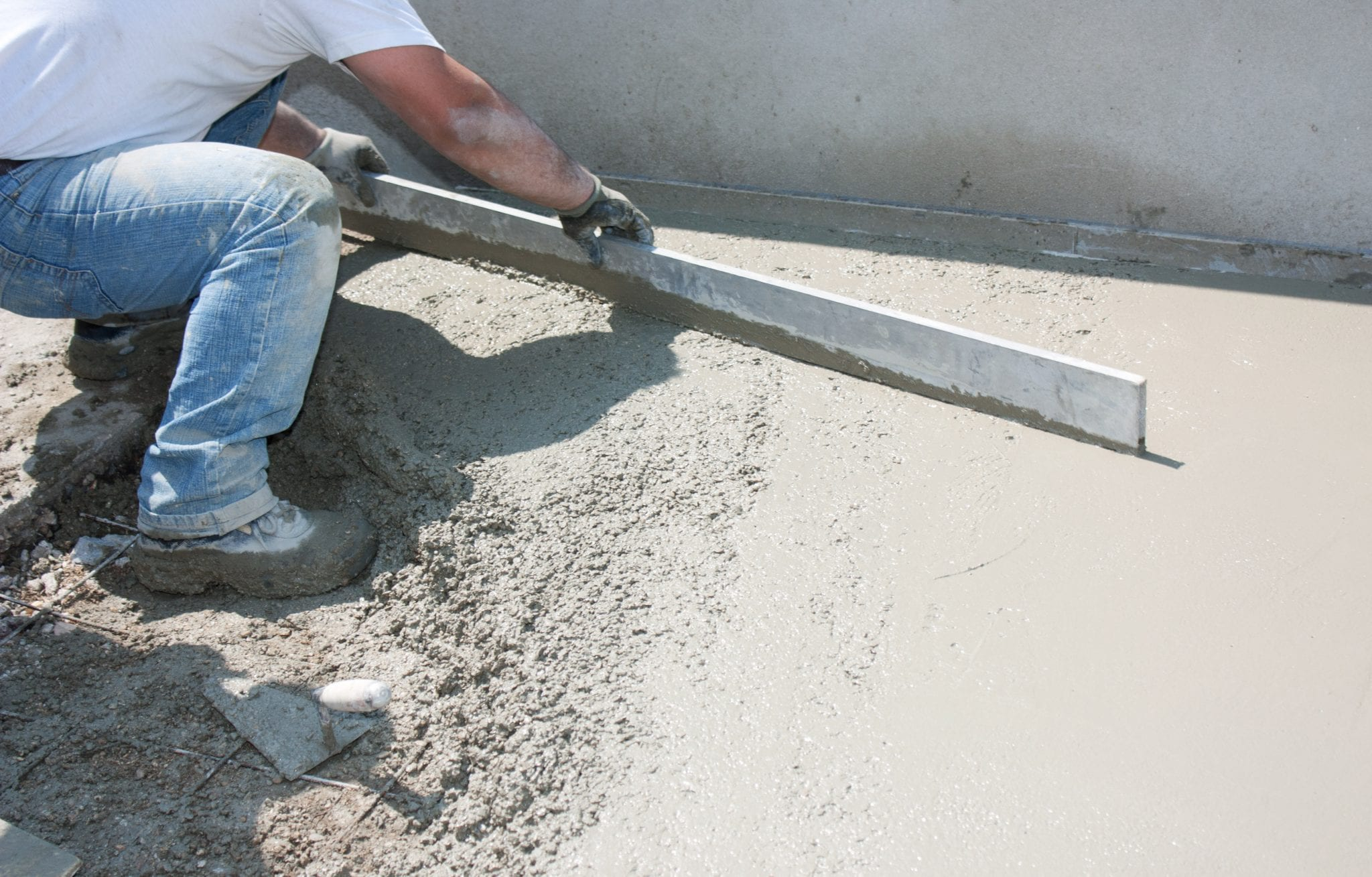 Betonvloer storten for Couler une dalle beton exterieur