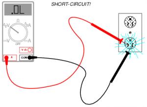 kortsluiting schematisch weergegeven